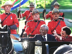 South Africa President Nelson Mandela (L front) an