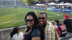 Evon at his first Rugby Game