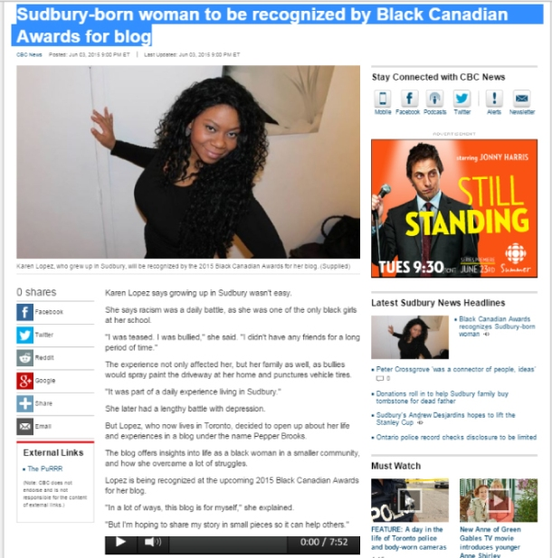 Sudbury Blogger, PepperBrooks recognized by Black Canadian Awards